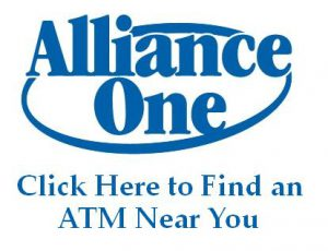 Image: Alliance One logo. Click to launch Alliance One ATM Locator.