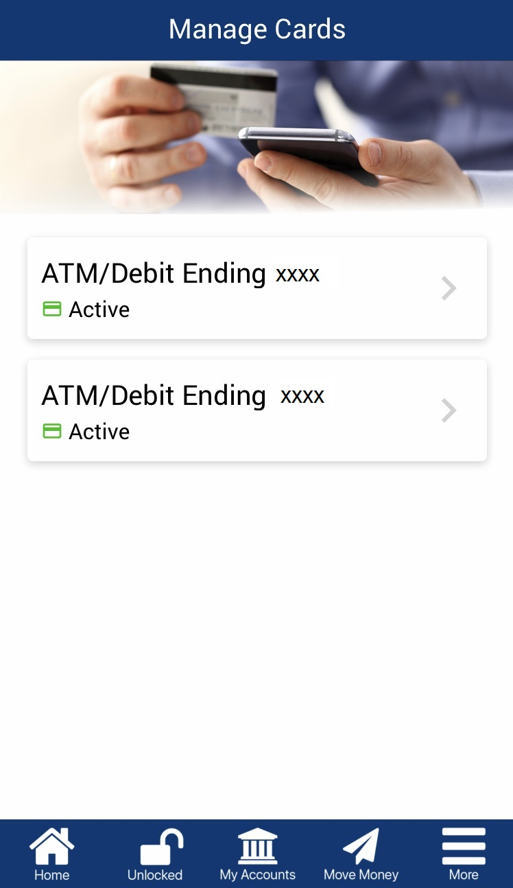 Image: screenshot of mobile app manage my cards feature