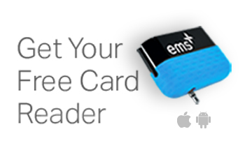 Image: EMS Plus card reader. Click button below to launch sign up for free card reader.