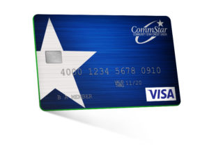 Image: a blue and green Visa Rewards Credit Card