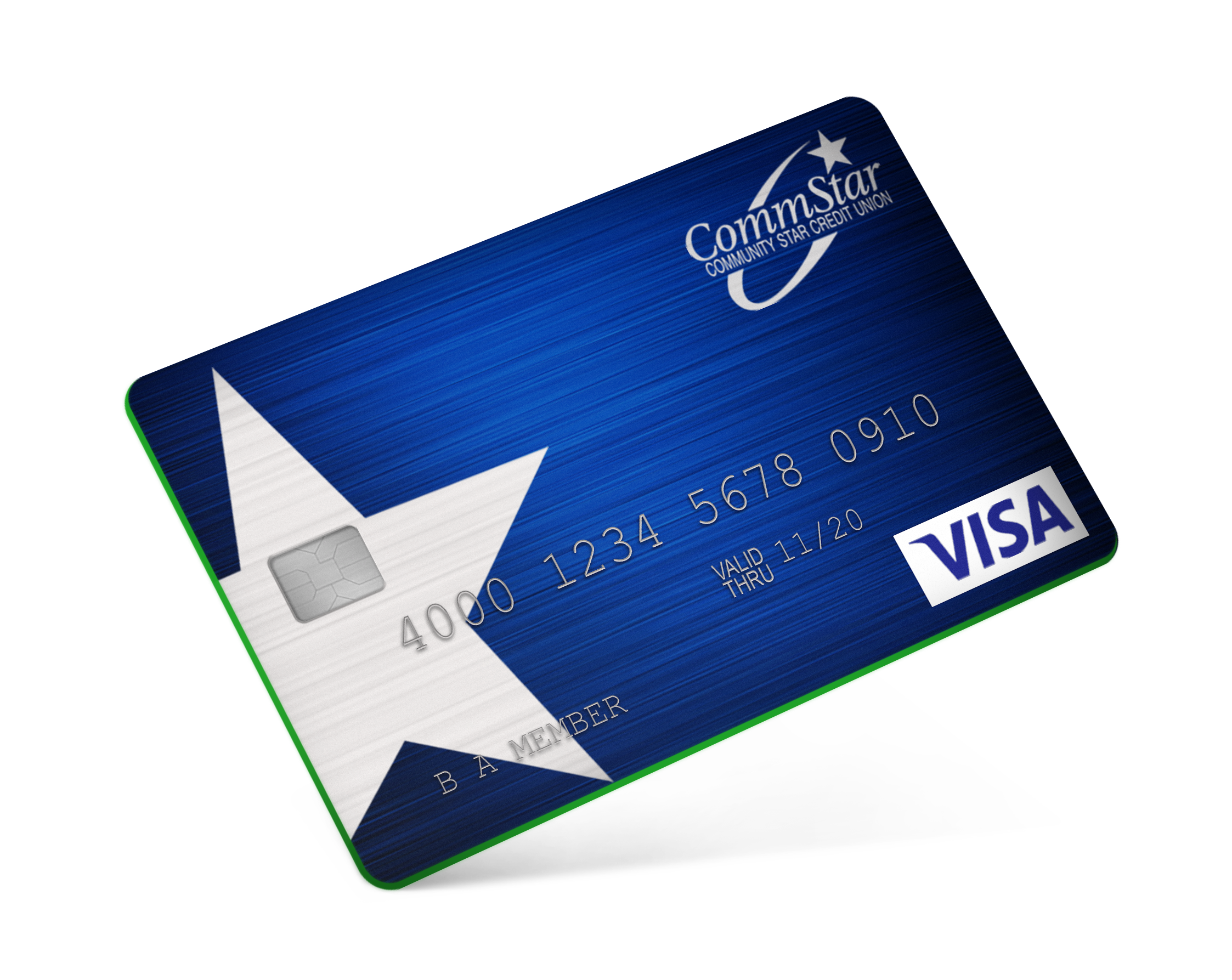 Image: blue and green credit card