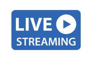 """Image: blue box with text """"live streaming"""""""
