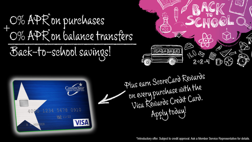 Image: 0% APR on Purchases and balance transfers with the Visa Rewards Card. Click for readable offer text.